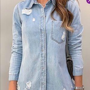 Distressed denim jean shirt button up light wash